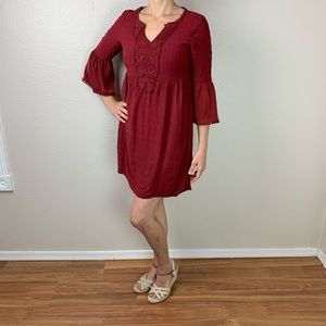 Knox Rose red wine boho dress